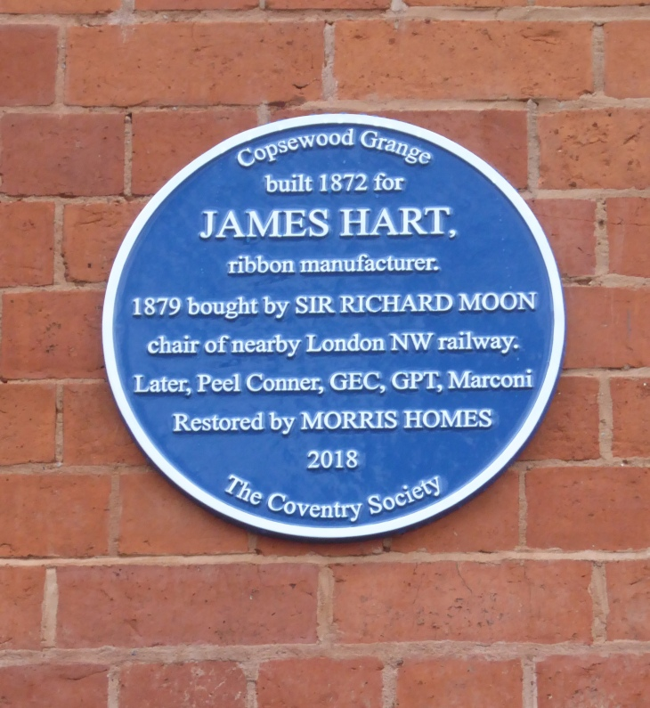 Blue plaque on Copsewood Grange