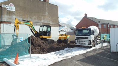 Groundwork starts on the Broad Street Meeting Hall.