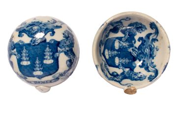 Two 18th or 19th century broken ladle bowls featuring the heraldic arms of the Drapers' Company.